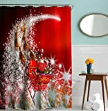Xmax Shower Curtains, Goodbath Christmas Starlight Sleigh Waterproof Mildew Resistant Fabric Bathroom Curtains,Standard Size 72 x 72 Inch, Red White