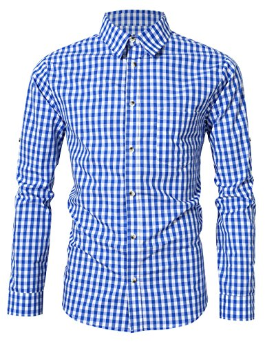 GloryStar Men's Casual Slim Fit Plaid Shirt Button Down Dress Shirts for German Bavarian Oktoberfest and Lederhosen (L, Blue-long-19) -