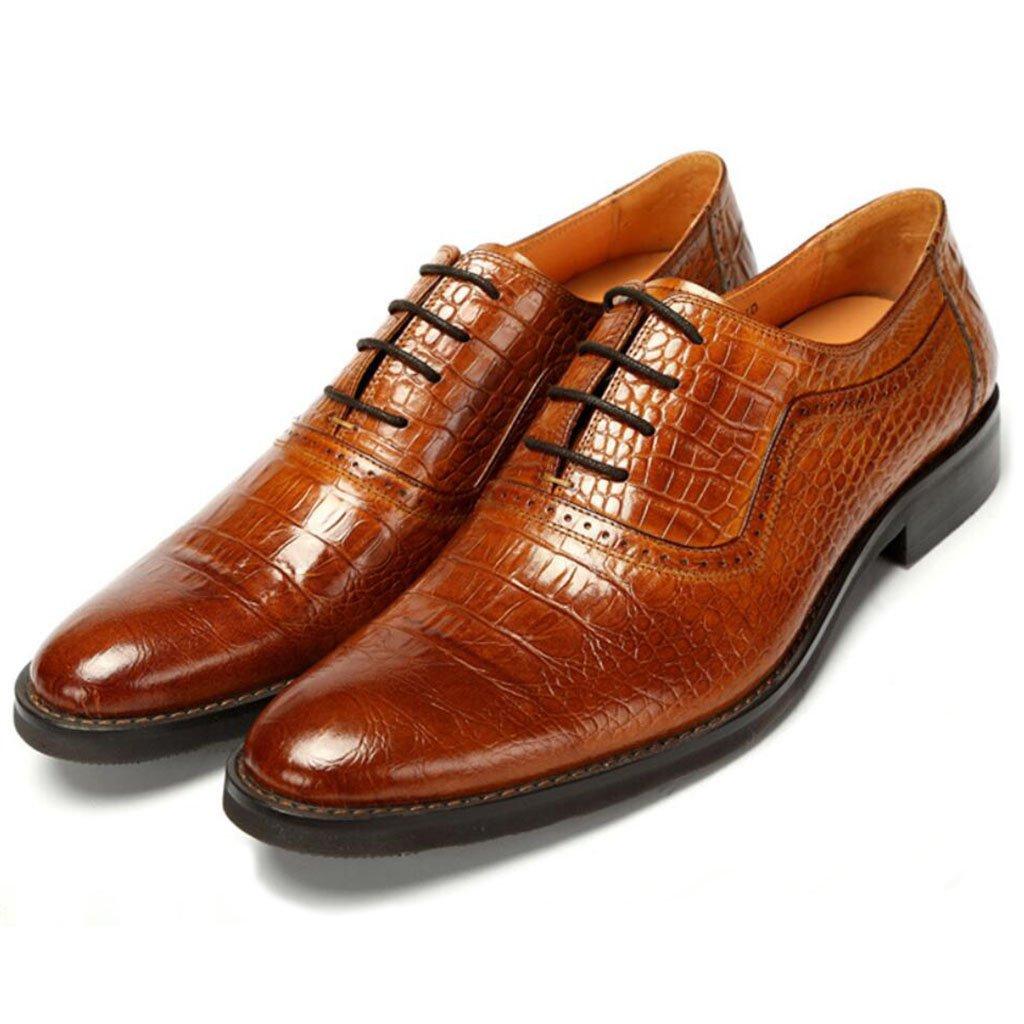 GAOLIXIA Zapatos de cuero de negocios de los hombres acentuados zapatos de vestir con cordones de cocodrilo zapatos casuales de moda zapatos de banquete de boda de gran tamaño 38--46 ( Color : Marrón , tamaño : 46 ) 46|Marrón
