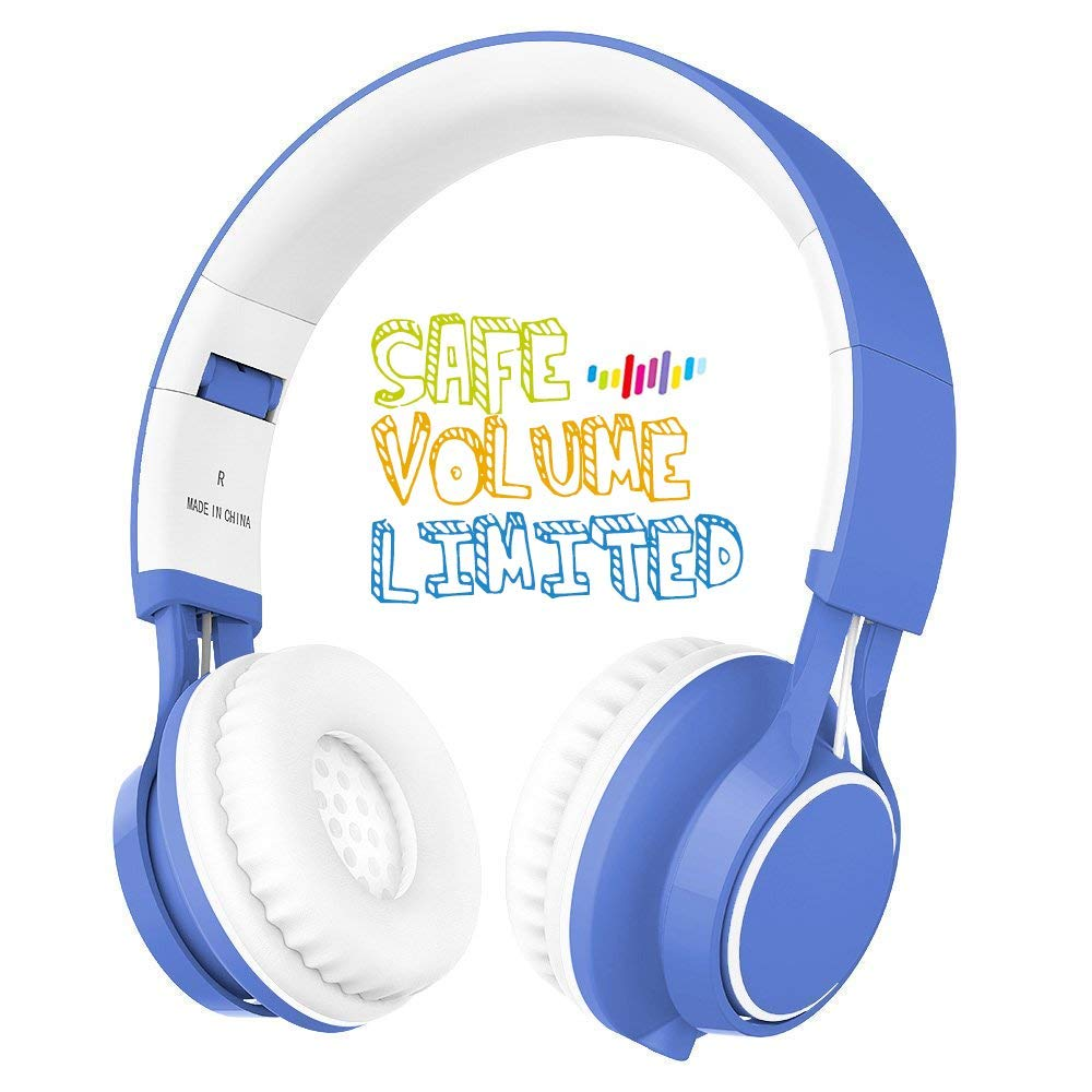 Kids Headphones, HD30 Volume Limiting Children Headset with Microphone for Girls Boys and Tablets Computer Laptops IOS Android Smartphone (White/Blue)