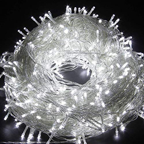 Christmas String Lights 22M/72ft 200 LEDs Indoor String Lights with 8 Flash Changing Modes, 29V Safety Outdoor Waterproof Plug-in Fairy Twinkle Lights for Halloween/Garden/Party/Festive (Cool White)