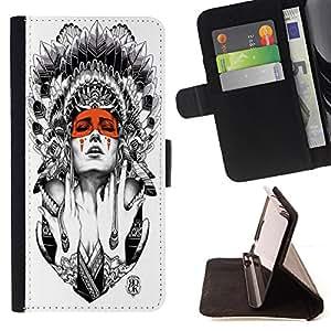 - American Indian Red Indian Feather Skull - - Prima caja de la PU billetera de cuero con ranuras para tarjetas, efectivo Compartimiento desmontabl FOR Samsung Galaxy S5 V SM-G900 Lady Case