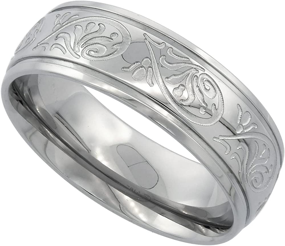 Surgical Stainless Steel 7mm Scrollwork Wedding Band Ring Engraved Comfort fit, Sizes 6-14