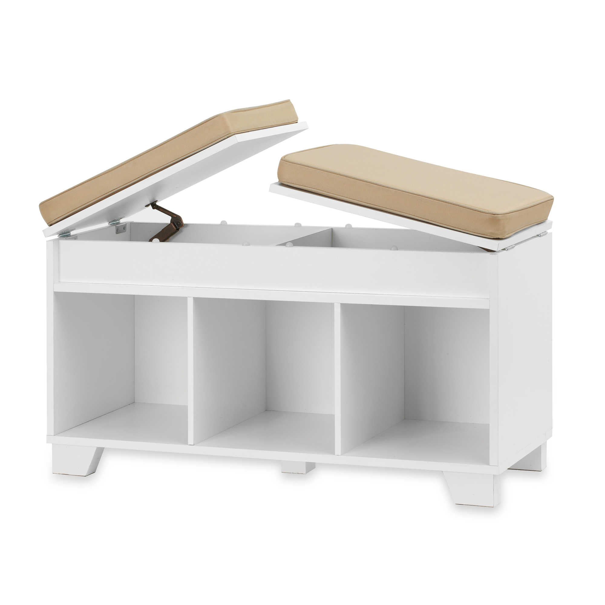 White Split Top Cushioned Seating Storage Bench