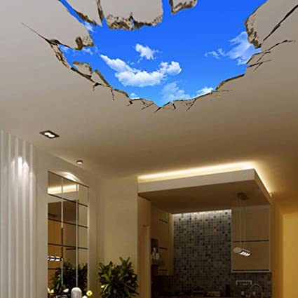 Sajanic 3D Blue Sky Wall Stickers For Ceiling Real Feeling Suit For Bedroom  Living Room Nursery
