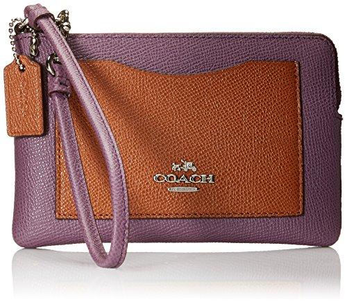 Multicolor Horse Logo Collection: Coach Multi Coloblock Corner L-Zip Wristlet Wallet (Silver