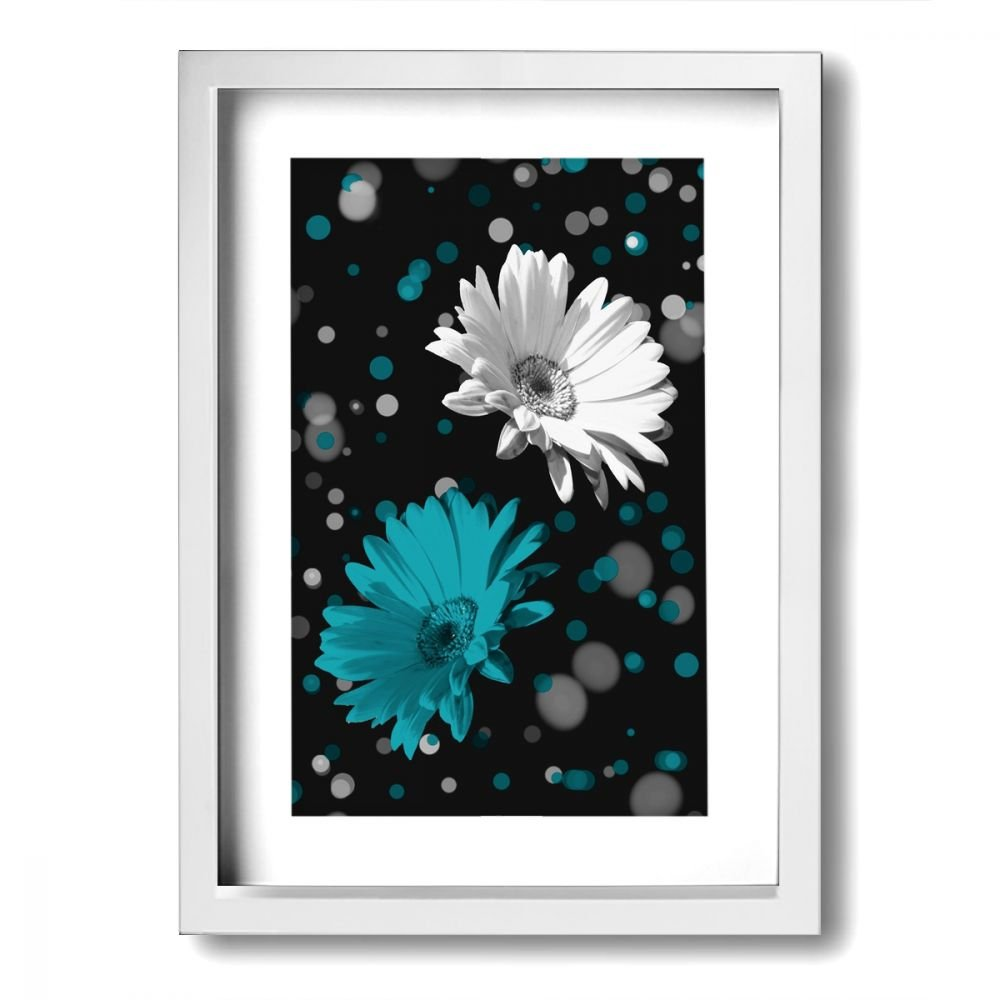 incredible Bath Wall Art Part - 12: Amazon.com: Ale-art Modern Frame Bathroom Wall Art Black White Teal Daisy  Flowers Vintage Pictures Bath Wall Art Ready to Hang for Wall Decor:  Posters u0026 ...