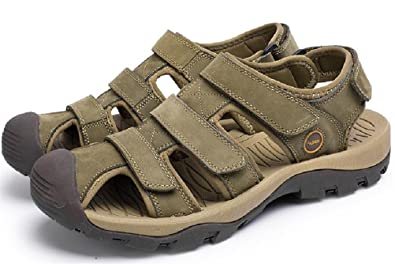585115b003729 ACE SHOCK Men s Flat Leather Sporty Beach Sandal Water Shoes Casual  Athletic Sandals (6