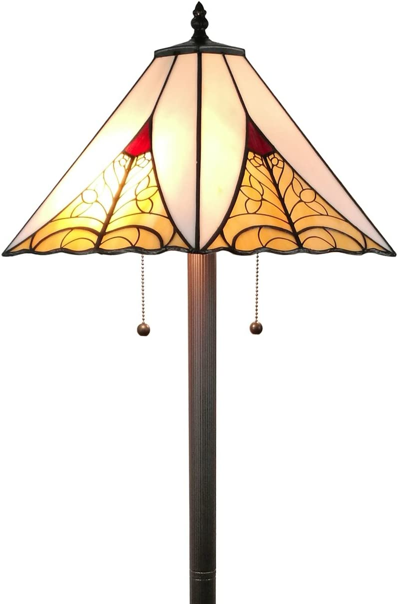 Amora Lighting Tiffany Style Floor Lamp Mission Standing 63 Tall Stained Glass White Red Yellow Antique Vintage Light Decor Bedroom Living Room Reading Gift AM259FL18, 18 Inches