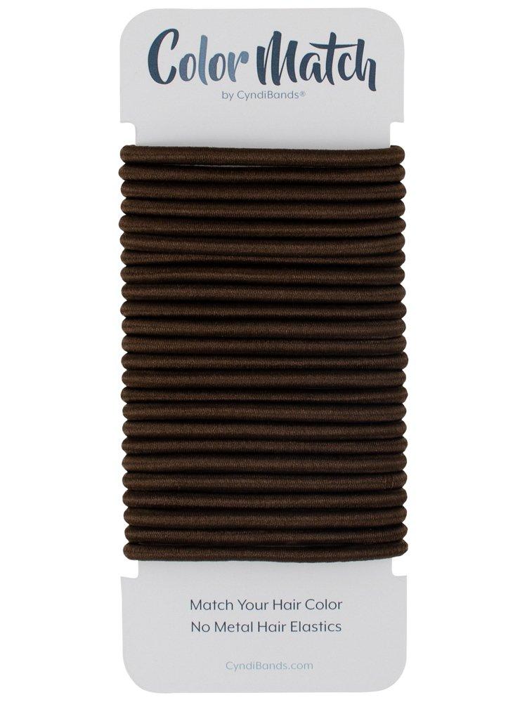61f1cbf219132 Dark Ash Brown Brunette No-Metal 4mm Elastic Hair Ties Color Match Ponytail  Holders - 24 Count