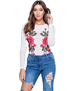 b9f96a742b5 NEW WHITE MESH FLORAL EMBROIDERED PATCH BODYSUIT FORMAL PARTY TOP SIZE  (6-14)