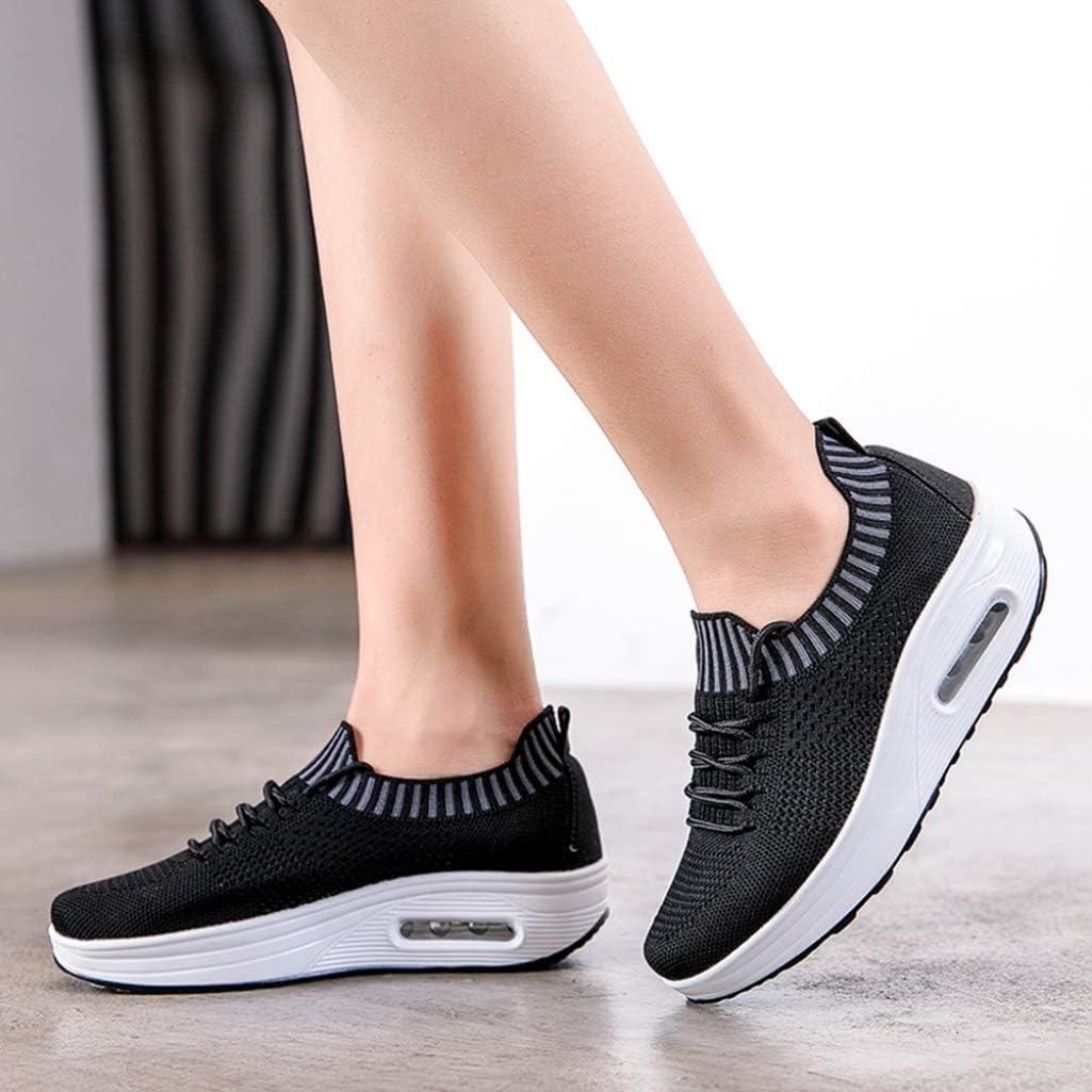XHCHE Femmes Chaussures de Marche athlétique Mode Baskets à Enfiler Baskets de Course Dames Respirant Gym Fitness Noir