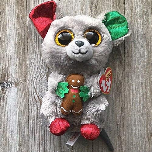 Motonupic Ty Beanie Boos 6 Quot 15cm Mac The Christmas Mouse Plush Regular Big Eyed Stuffed Animal Collection - Cinder Kiwi Bracelet Raccoon Hedgehog Small Xtra Collectors Exclusive Book E from Motonupic