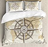 Ambesonne Compass Duvet Cover Set Queen Size, Nautical Compass on Background Old Map with Torn Border Frame Illustration Print, Decorative 3 Piece Bedding Set with 2 Pillow Shams, Beige Brown