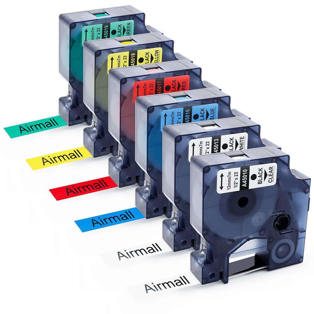 Airmall 6PK Cintas de Etiquetas Compatible con Dymo D1 45017 45010 45013 45016 45017 D1 45018 45019 12mm7m Negro sobre Transparente Blanco Azul Roj Amarillo Verde para Labelwriter Impresoras 80f056