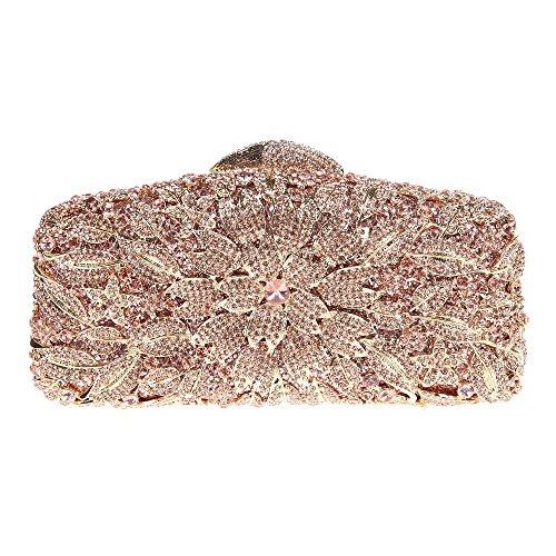 Damen Clutch Abendtasche Handtasche Geldbörse Glitzertasche Strass Kristall Blühen Kuss Schloss Tasche mit wechselbare Trageketten von Santimon(8 Kolorit) Rose Gold