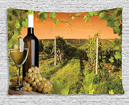 (YouXianHome Winery Tapestry Art, Bottle and Glass of Wine and Vineyards of Sunset Countryside Romantic Evening View, Wall Art for Living Room Bedroom Home Decor, 60 W x 40 L Inches, Orange Green )