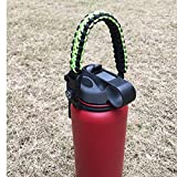 Handle for Hydro Flask - Paracord Survival Strap with Security Ring for Wide Mouth Water Bottles Carrier (Black/Green)