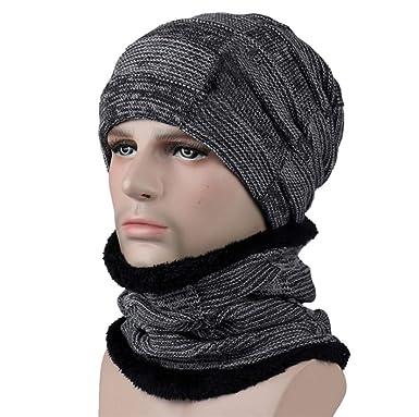 c7101eae6ae3 Freesiom 2pcs Bonnet Echarpe Tour de Cou Hiver Unisexe Homme Femme Chaud  Velours Beanie Coton Doux