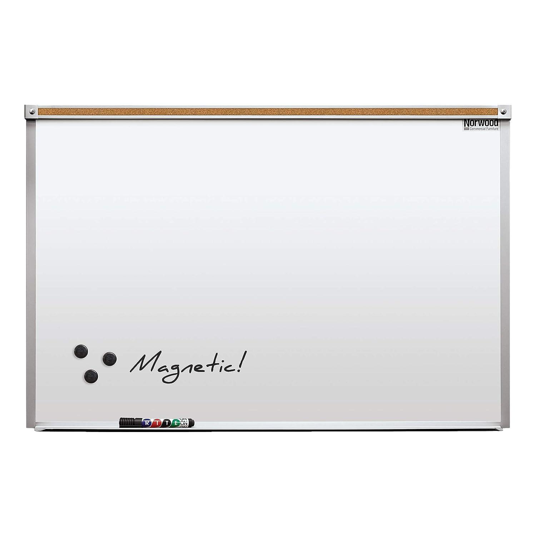 Norwood Commercial Furniture Heavy-Duty Porcelain Steel Magnetic Dry Erase Board/Whiteboard w/Aluminum Frame & Maprail 2' x 3'