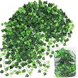 ElaDeco 94 ft 12 Pack Artificial Ivy Garland Vine,Plastic Ivy Vines Fake Ivy Garland for Wedding Party Decoration Garden Wall Greenery Decoration 2