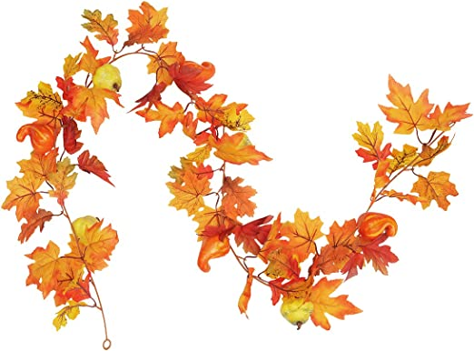 Artificial Autumn Fall Maple Leaves Hanging Leaves Plant Home Party Door Decor !