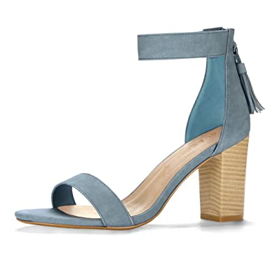 cb766be98 Allegra K Women's Tassel Stacked Heel Ankle Strap Sandals (Size US 4.5)  Denim Blue