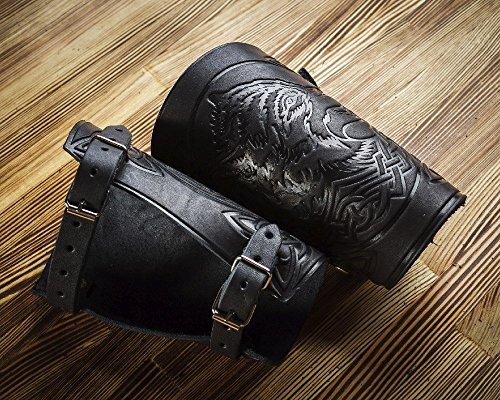 Leather Cuff - Larp Gauntlet - Leather Wristbands - LARP Accessories - Viking Bracers - Wolf Design - Archery Armguard - Length 6