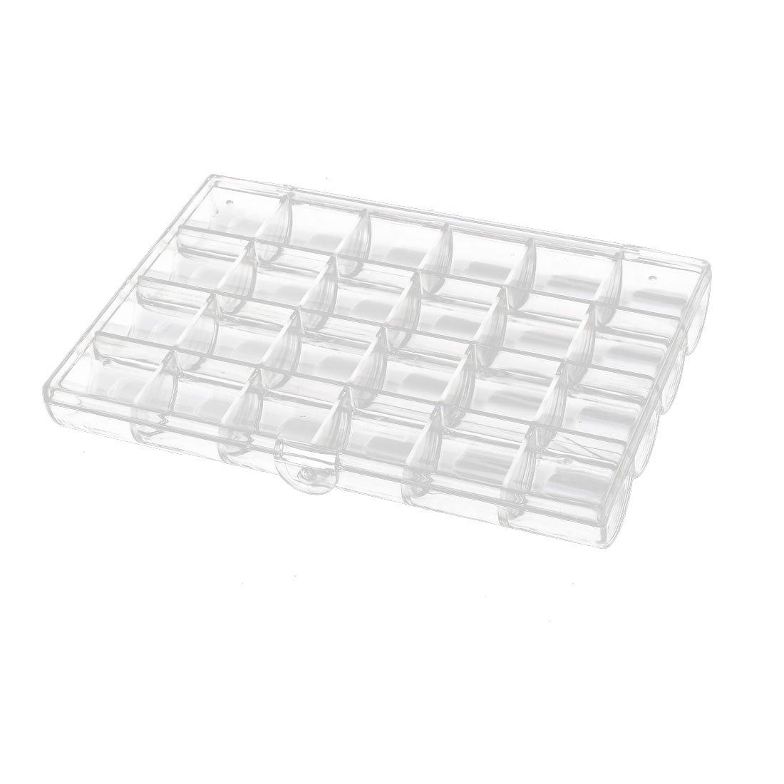 uxcell 180mmx125mmx25mm 24 Slots Half Round Storage Organizer Case DIY Tool Clear