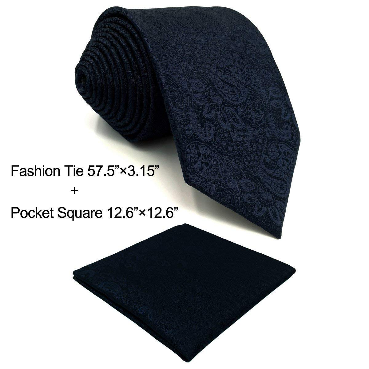 SHLAX&WING Mens Necktie Solid Color Blue Paisley Business for Mens Suit Tie Set by S&W SHLAX&WING
