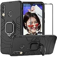 BestAlice Funda para Huawei P30 Lite/Nova 4e Case Protector de Pantalla de Cristal Templado, Híbrida Rugged Armor Choque Absorción Protección Dual Layer Bumper Carcasa con Pie De Apoyo, Negro