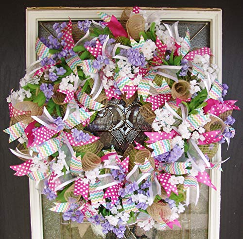 Stunning Designer Pink and Burlap Easter Deco Mesh Front Door Wreath, Floral Spring Farmhouse Country Rustic (Wreath Door Ideas Easter)