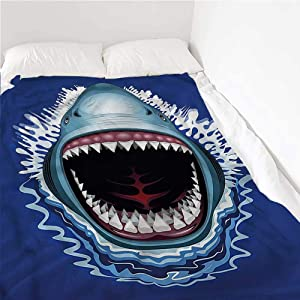 painting-home Soft Blanket Shark, Attack Open Mouth Bite Summer Lightweight Blanket Hypoallergic, Machine Washable 30 x 50 Inch