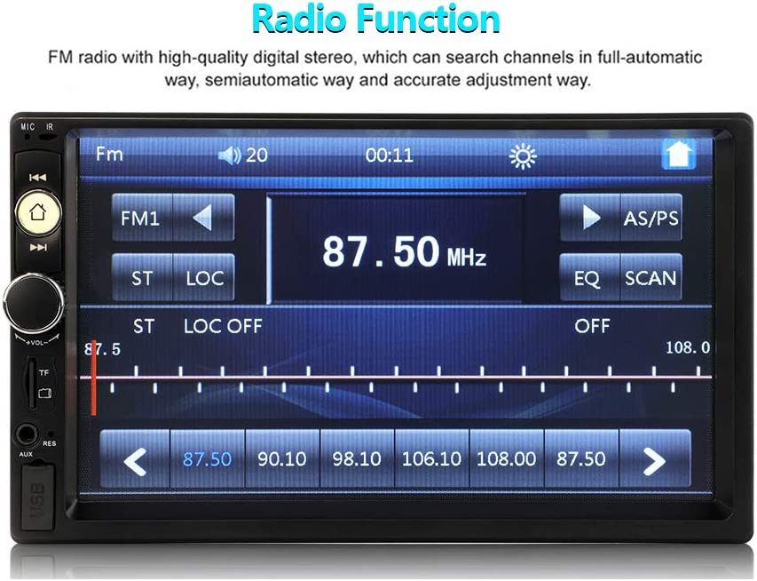Kecheer 2 Din Stereo Receiver 2din Car Radio Autoradio 7Hd Touch Screen 12v Car Stereo Player Bt con control remoto 7010B
