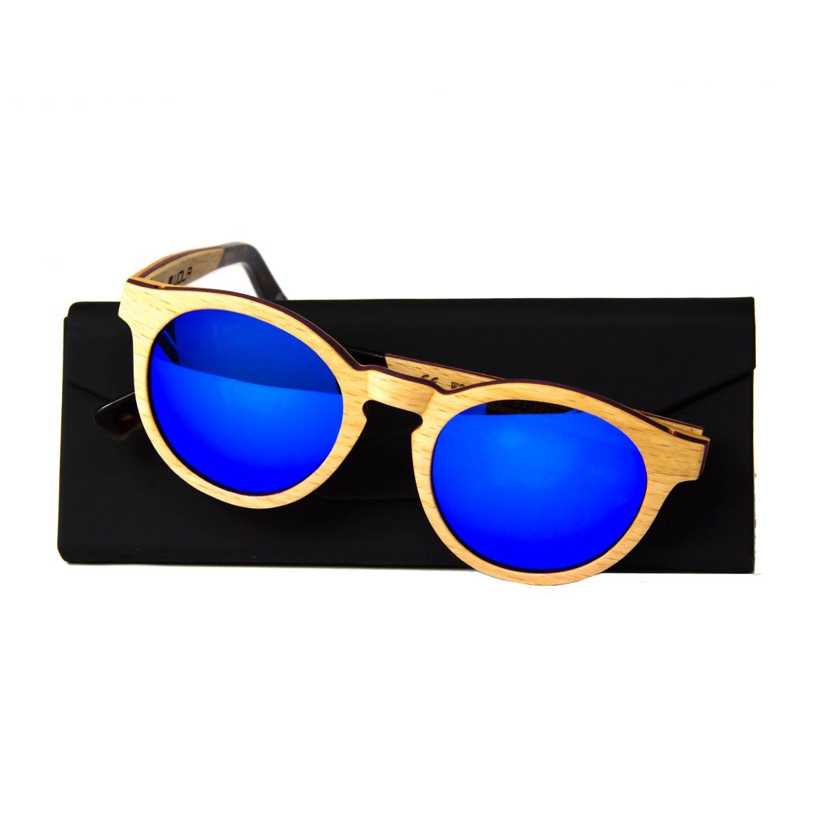 WOLA Damen Herren Sonnenbrille Holz FORREST Brille oval Vollholz und Acetat polarisiert UV400 Nussholz Unisex Damen M - Herren S trAQKeI