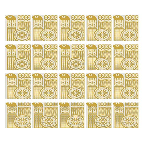"""C COABALLA Yellow and White 3D Ceramic Tile Stickers 20 Pieces,Abstract Bird in Scandinavian Folkloric Style Retro Design Floral Motif Decorative for Home,3.9"""" L x 3.9"""" W"""