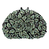 Image of Fawziya Rhinestone Rose Clutch Purse For Party Handbags For Women-AB Green