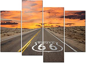Welmeco Large 4 Pieces Canvas Wall Art Route 66 Sign Sunrise in California's Mojave Desert Road Scenery Picture Prints Framed Ready to Hang Modern Home Office Decor (01 Route 66)