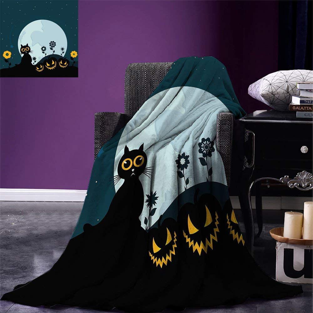 color05 80 x60  VAMIX Halloween Warm Microfiber All Season Blanket Funny Cartoon Design with Pumpkins Witches Hat Ghosts Graveyard Full Moon Cat Print Artwork Image£¬Multicolor, Multicolor, Blanket
