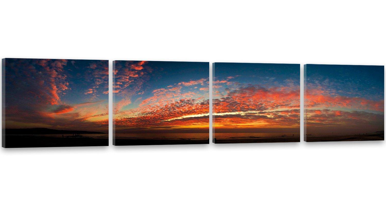 Feeby Frames, Leinwandbild, Bilder, Wand Bild - 4 Teile - Panoramabild, Wandbilder, Kunstdruck 50x200 cm, AUSSICHT, WOLKEN, WASSER, SEE, FARBEN, ORANGE, BLAU