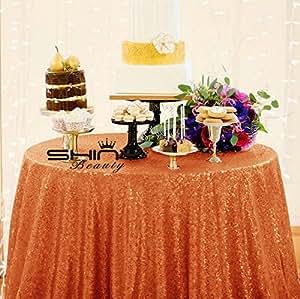 shinybeauty (redondo, mantel de lentejuelas naranja para Halloween/Navidad/boda fiesta de cumpleaños Decoración