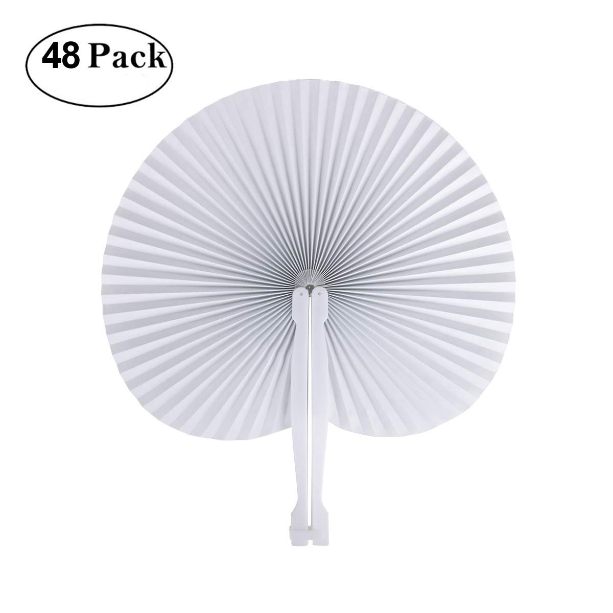 Cusfull 48 Pack White Folding Paper Fans Handheld Paper Fans for Wedding/Party / Party Favours (Round Shape)