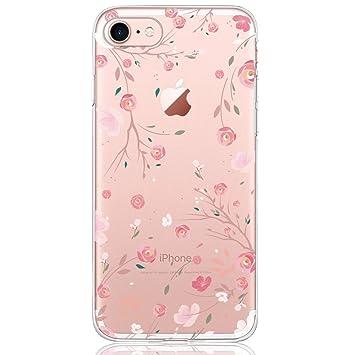 DAPP Funda iPhone 7/8 Serie Dolce Vita Carcasa Transparente Silicona para Mujer/Chica con diseño de Rose Flores Rosa