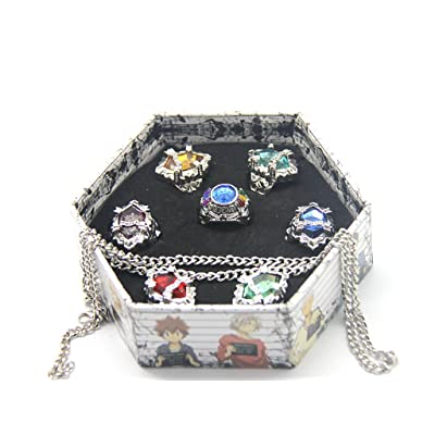 WS_COS Japanese Katekyo Hitman Reborn! Cosplay Accessory Set of 7 Vongola Family Rings with Necklace 3rd Version by Wing Seng: Toys & Games