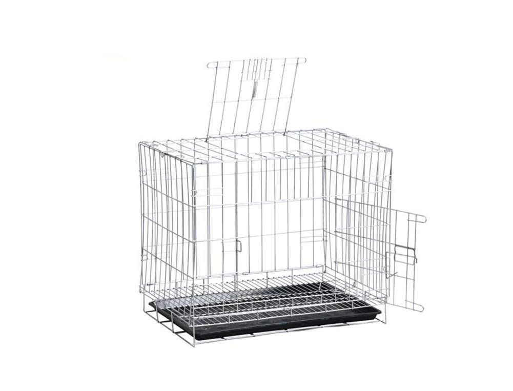 ZSSHJ Dog cages, Medium dog Pet bed Kennel Encryption Iron cage Fold Silver 507060cm