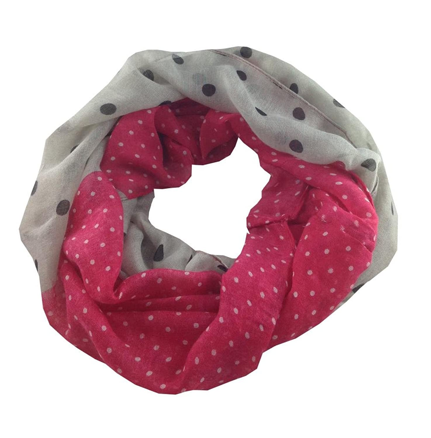 White and Dark Pink Contrast Polka Dot Scarf