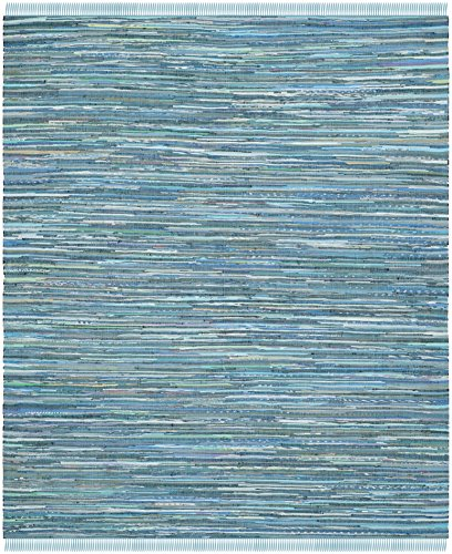 Safavieh Rag Rug Collection RAR121B Hand Woven Blue and Multi Cotton Area Rug (8' x 10')