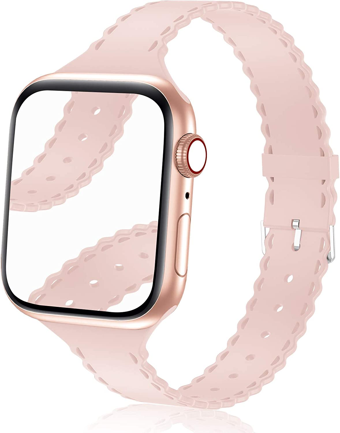 Bandiction Compatible with Apple Watch Bands 38mm 40mm Women Slim Thin iWatch Bands 38mm 40mm Soft Silicone Sport Band Narrow Watch Strap Compatible for Apple Watch SE Series 6 5 4 3 2 1, Sand Pink