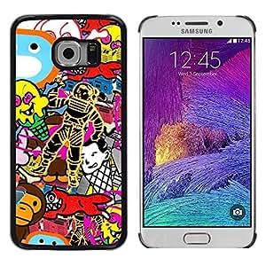 Be Good Phone Accessory // Dura Cáscara cubierta Protectora Caso Carcasa Funda de Protección para Samsung Galaxy S6 EDGE SM-G925 // Wallpaper Random Art Spacesuit Fox Monkey