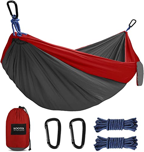 Kootek Camping Hammock Double Single Portable Tree Hammocks with 2 Hanging Ropes, Lightweight Nylon Parachute Hammocks for Backpacking, Travel, Beach, Backyard, Hiking